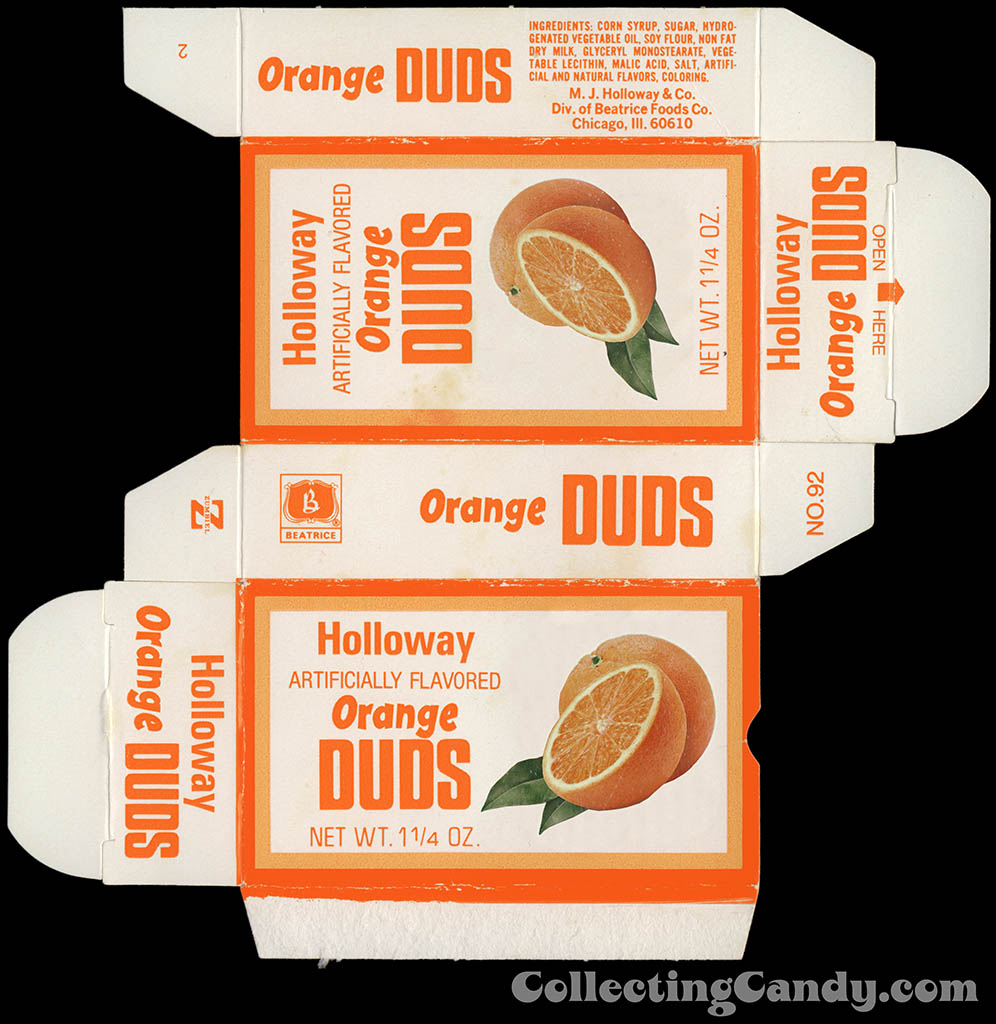 Beatrice - Holloway - Orange Duds - Milk Duds - 1 1/4 oz candy box - 1977