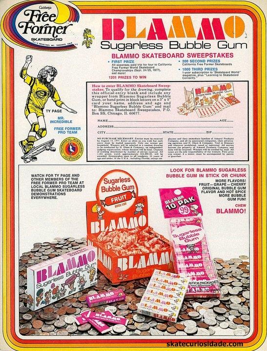 Blammo Bubble Gum Skateboarding ad - image courtesy Skatecuriosidade.com