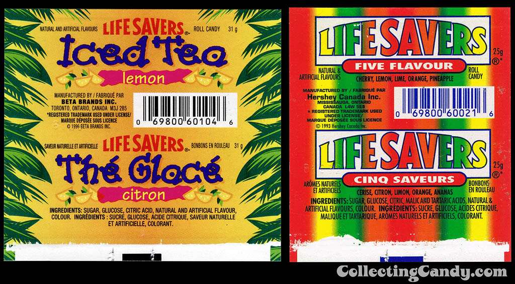 Canada's Life Savers Iced Tea flavor - roll candy wrapper - 1996