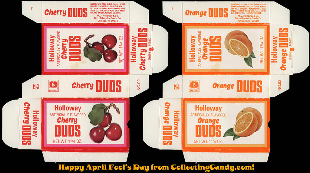 Cherry Duds real original box to Orange Duds April Fool's faux box - side by side image
