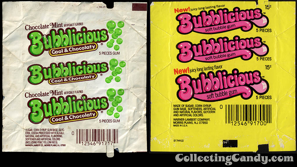 Chocolate Mint Bubblicious and Original Bubblicious bubblegum wrappers - 1980's and 1978