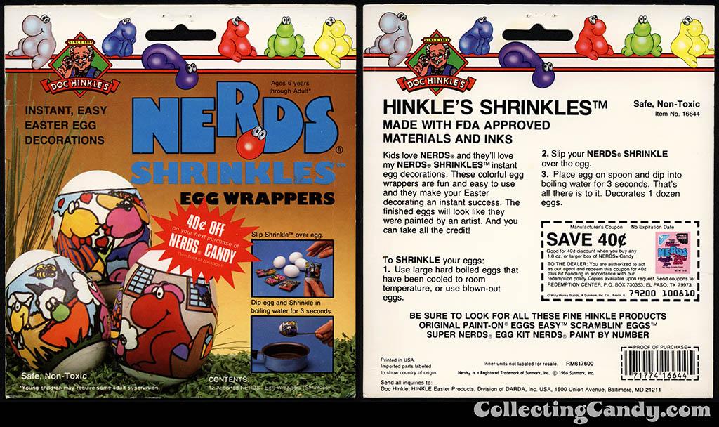 Doc Hinkle's Nerds Shrinkles Egg Wrappers - licensed Nerds-themed Easter egg decoration kit package - 1986