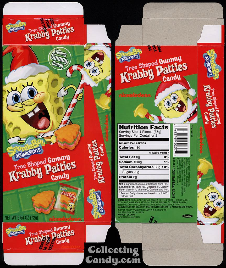 Frankford Candy - Nickelodeon - Spongebob Squarepants Gummy Krabby Patties Candy - tree-shaped - 2.54 oz Christmas candy box - 2011