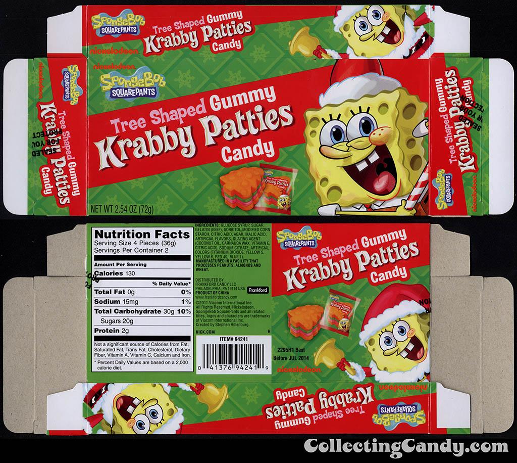 Frankford Candy - Nickelodeon - Spongebob Squarepants Gummy Krabby Patties Candy - tree-shaped - 2.54 oz Christmas candy box - 2013