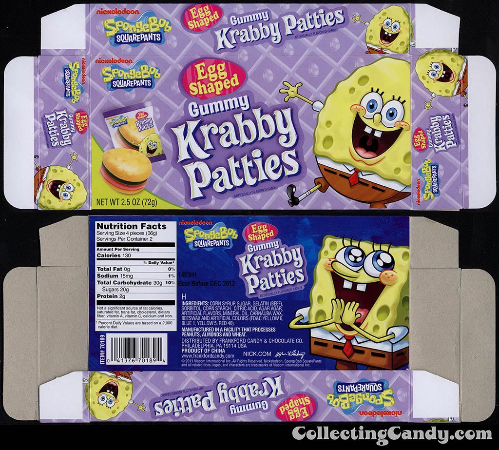 Frankford Candy - Nickelodeon - Spongebob Squarepants Gummy Krabby Patties Egg Shaped - 2.5 oz Easter candy box - 2012