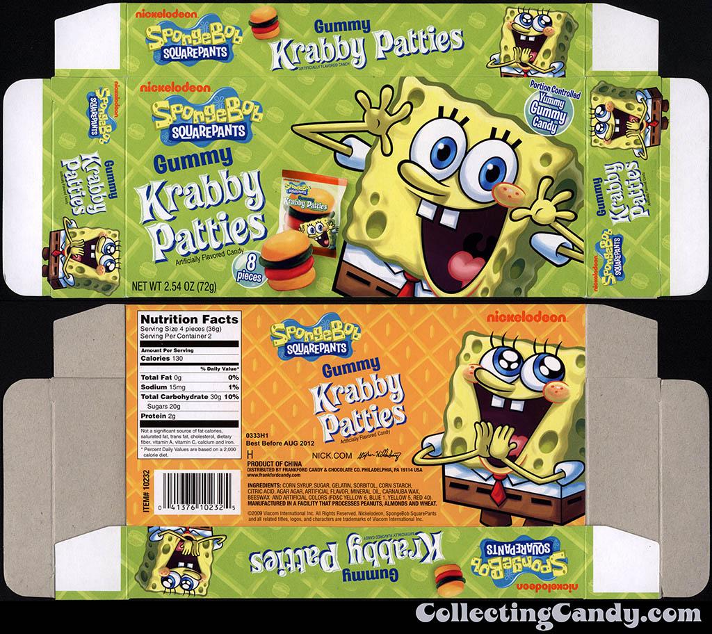 Frankford Candy - Nickelodeon - Spongebob Squarepants Gummy Krabby Patties - candy box - 2011