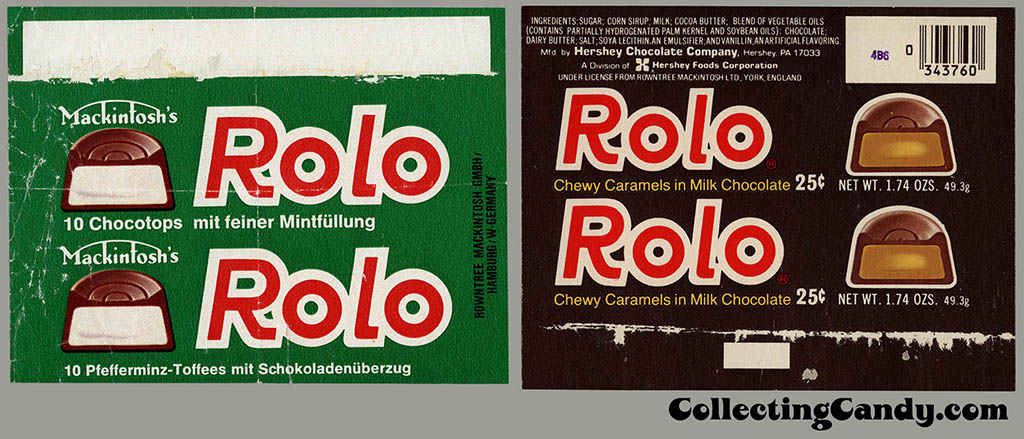 German Mint Rolo and USA regular Rolo wrappers from the 1970's