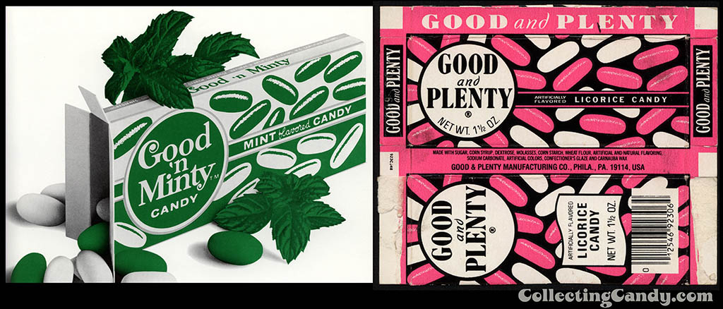 Good n Minty and Good n Plenty candy boxes from the early 1970's