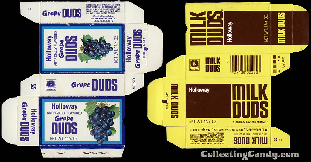 Grape Duds and Milk Duds boxes from the 1970's