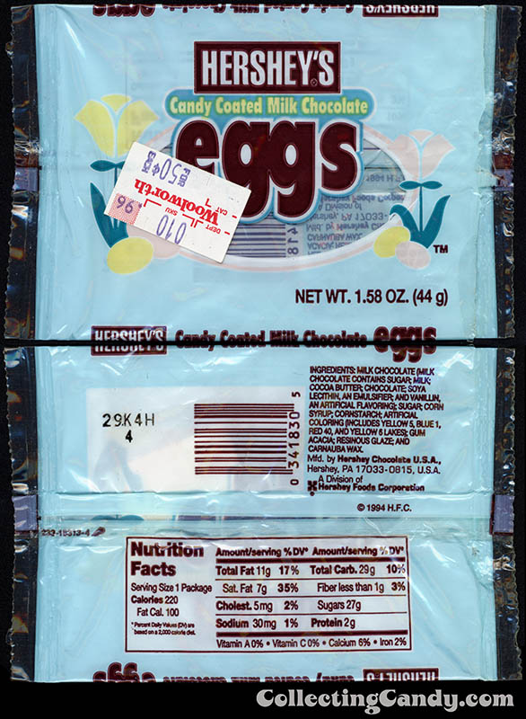 Hershey's - Candy Coated Milk Chocolate Eggs - 1_58oz Easter candy package - 1995