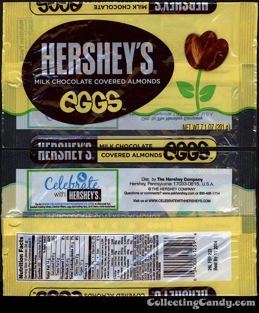 Hershey's - Hershey's Milk Chocolate Covered Almonds Eggs - 7.1 oz Easter candy package - March 2014