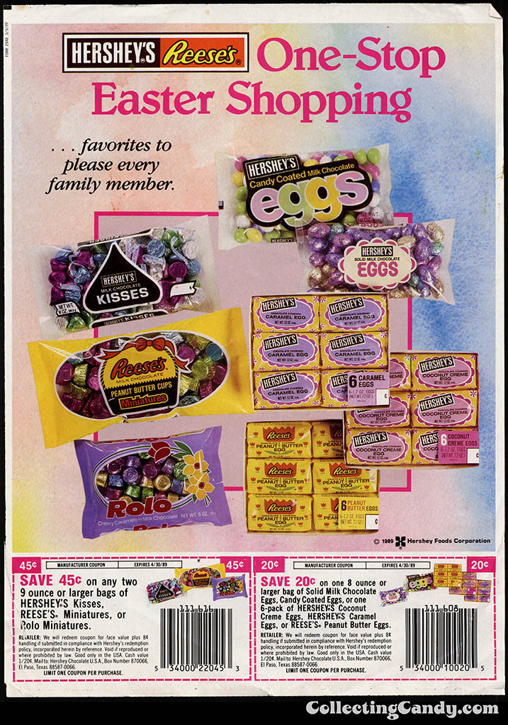 Hershey's-Reese's - One-Stop Easter Shopping - Sunday newspaper circular coupon - Spring 1989