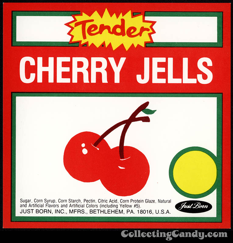 Just Born - Cherry Jells - Tender - candy vending machine insert card - 1970's