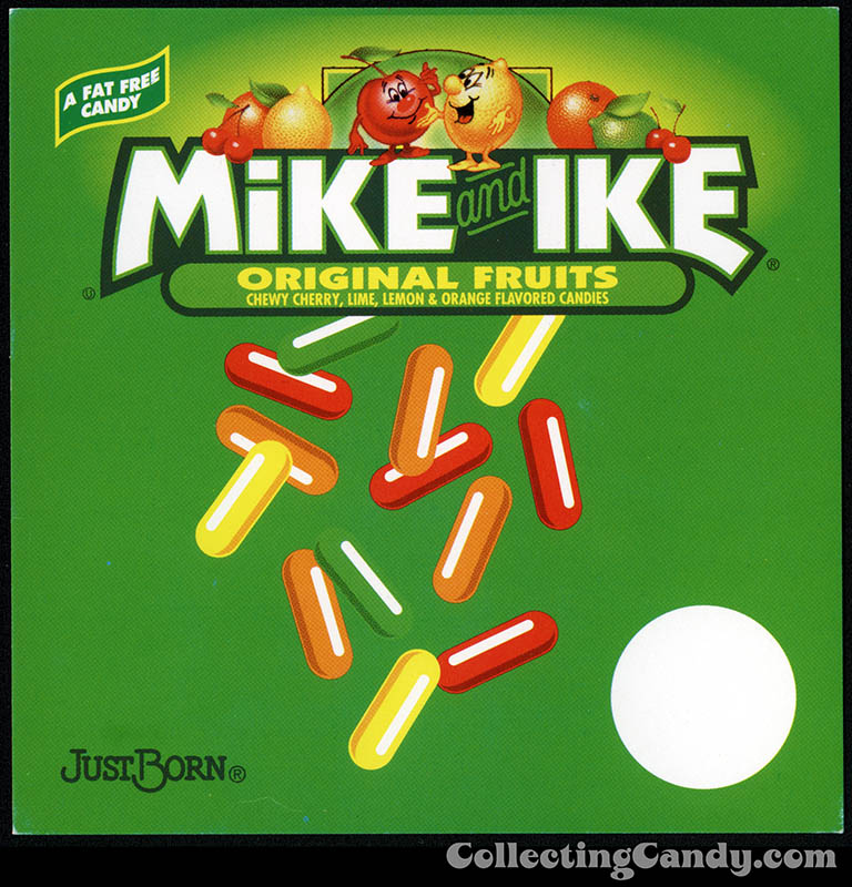 Just Born - Mike and Ike Original Fruits - candy vending machine insert card - late 1990's to early 2000's