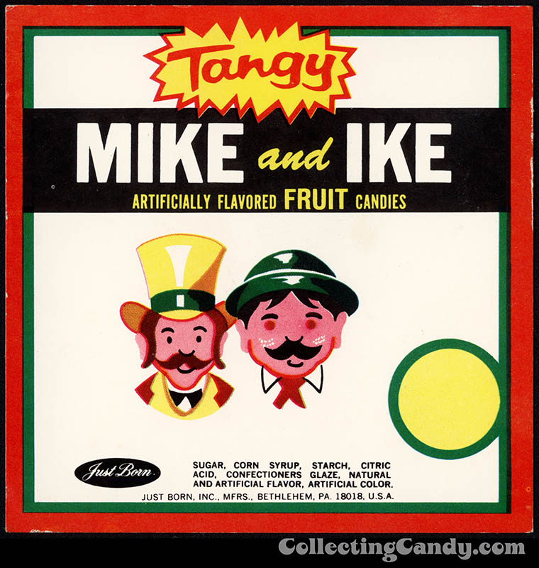 Just Born - Mike and Ike - Tangy - candy vending machine insert card - 1970's