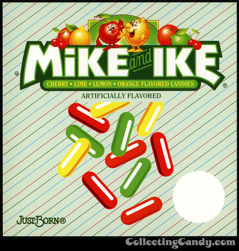 Just Born - Mike and Ike - candy vending machine insert card - 1987-1990's