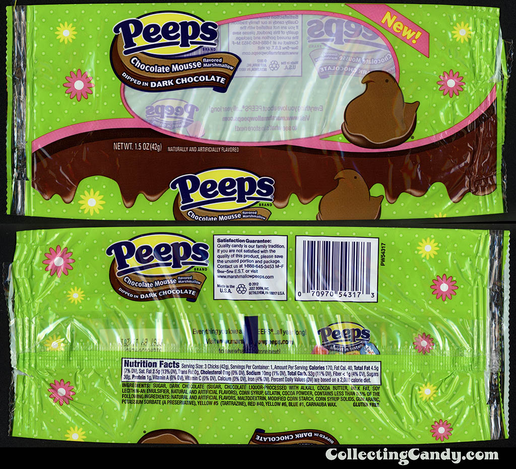 Just Born - Peeps - Chocolate Mousse dipped in Dark Chocolate - New - 1.5 oz Easter candy package - March 2014