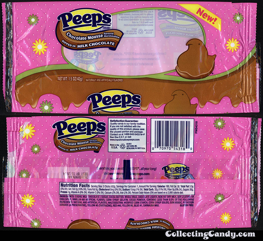 Just Born - Peeps - Chocolate Mousse dipped in Milk Chocolate - New - 1_5 oz Easter candy package - March 2014