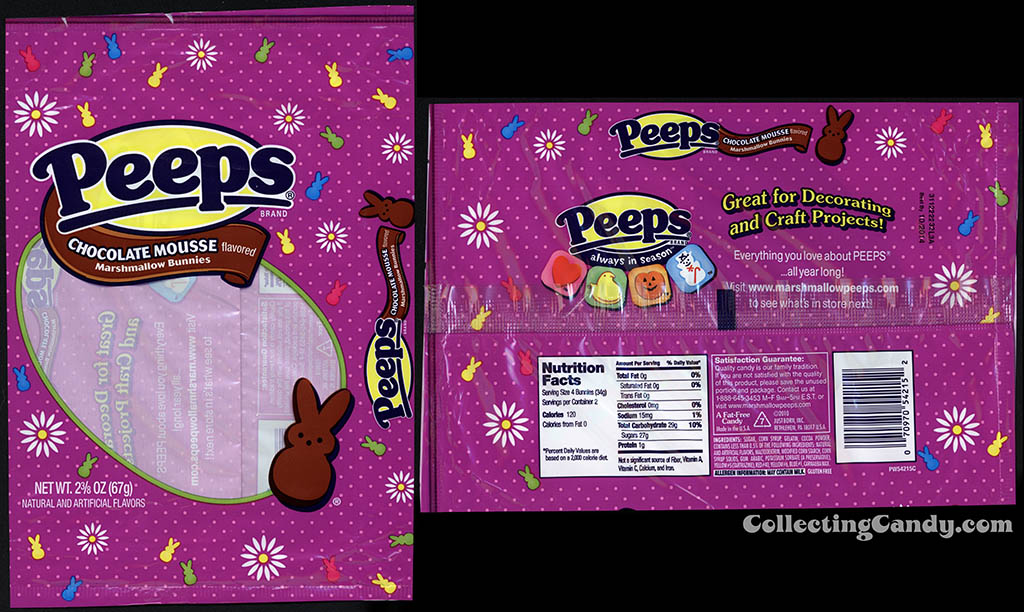 Just Born - Peeps - Chocolate Mousse flavored marshmallow bunnies - 2 3/8 oz Easter candy package - March 2014