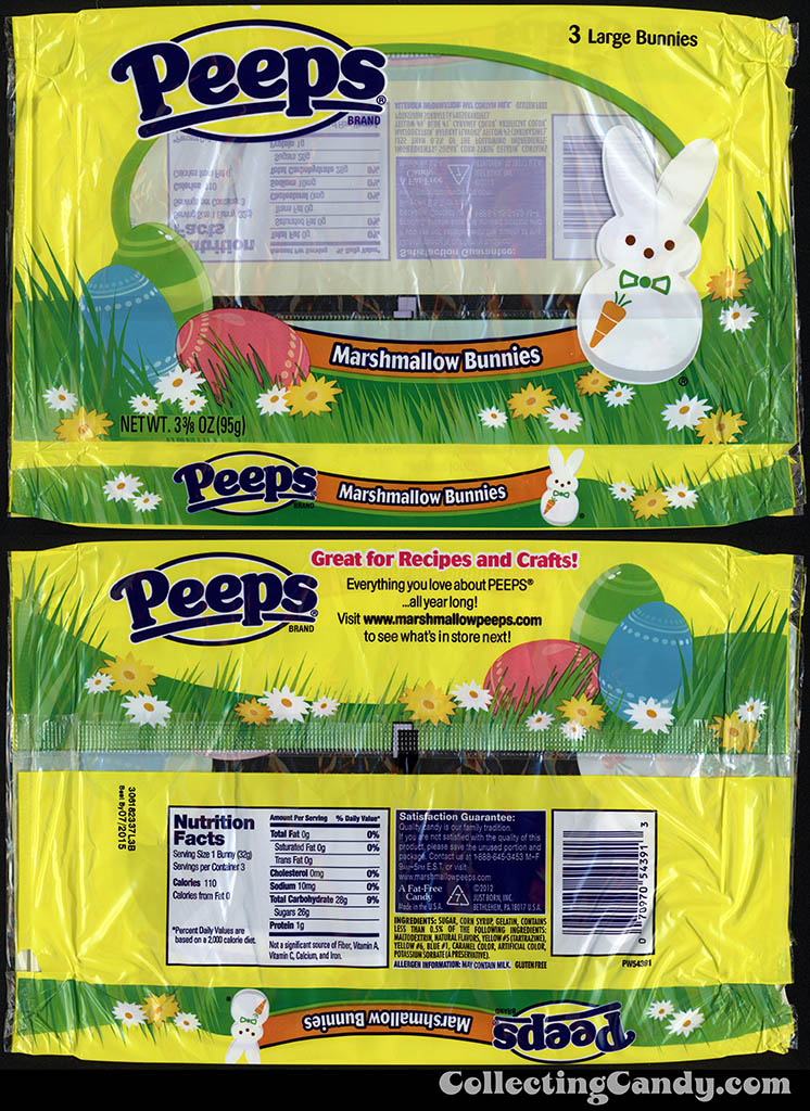 Just Born - Peeps - Marshmallow Bunnies - 3 3/8 oz Easter candy package wrapper - March 2014