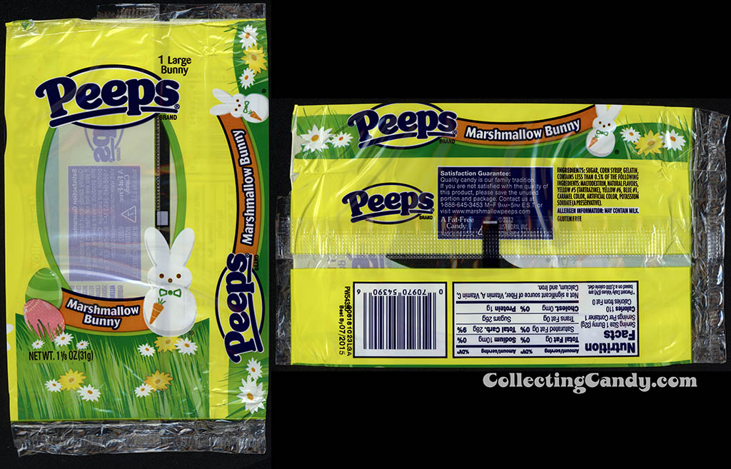 Just Born - Peeps - Marshmallow Bunny - 1 1/8 oz Easter candy package wrapper - March 2014