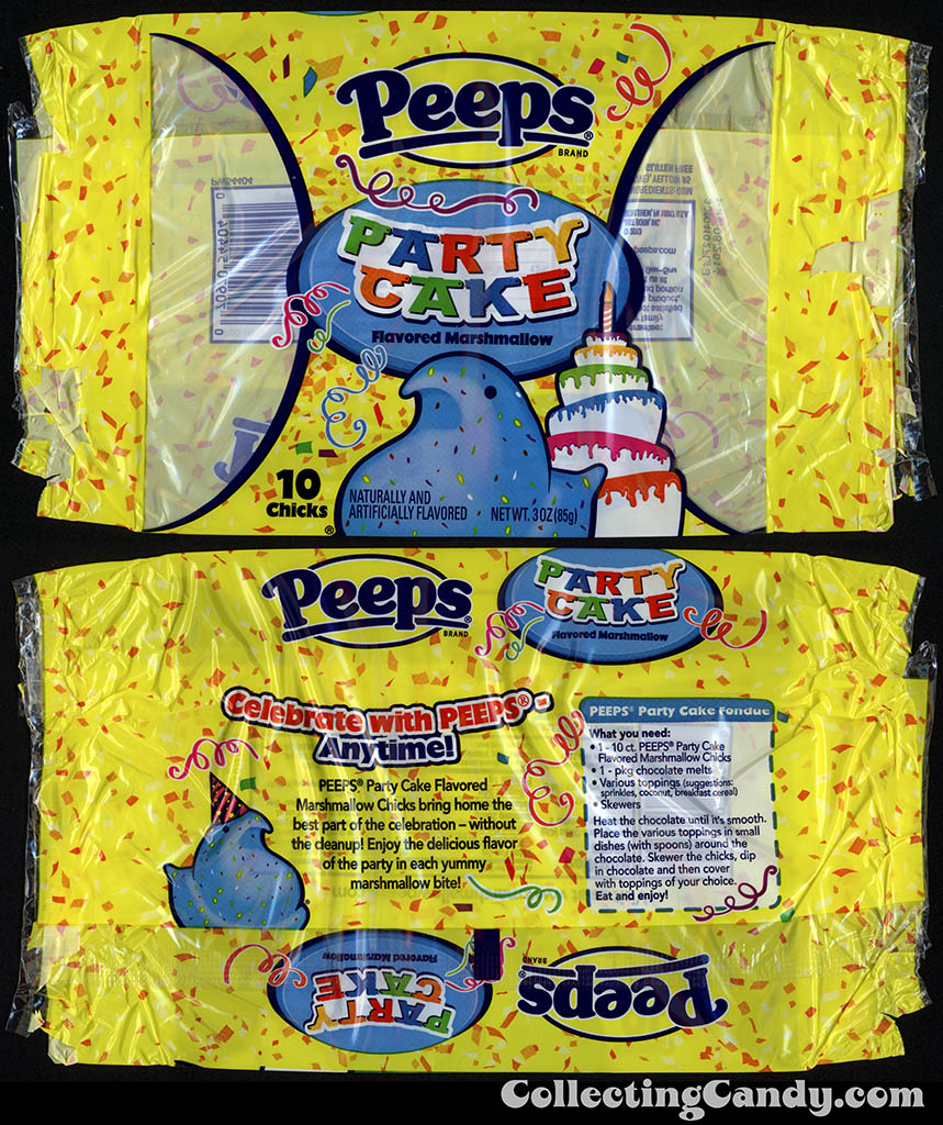 Just Born - Peeps - Party Cake flavored marshmallow - 10 Chicks - 3 oz candy package wrapper - March 2014