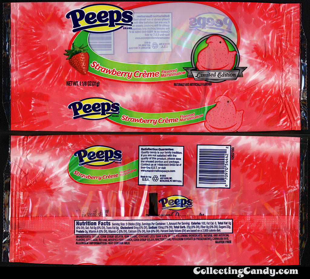 Just Born - Peeps - Strawberry Creme Limited Edition - 1 1/8 oz Easter candy package - March 2014