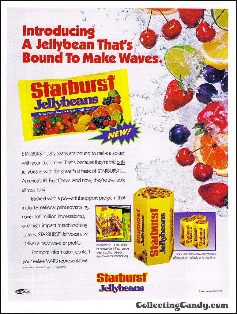 M&M-Mars - Starburst Jellybeans - Bound to Make Waves - candy trade magazine ad - 1995