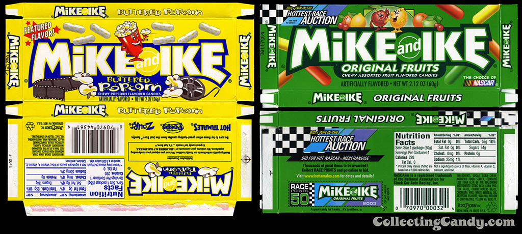 Mike and Ike Buttered Popcorn flavor and original flavor boxes - 2003