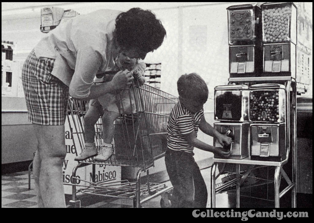 Mother and children at grocery store vending machines circa 1969