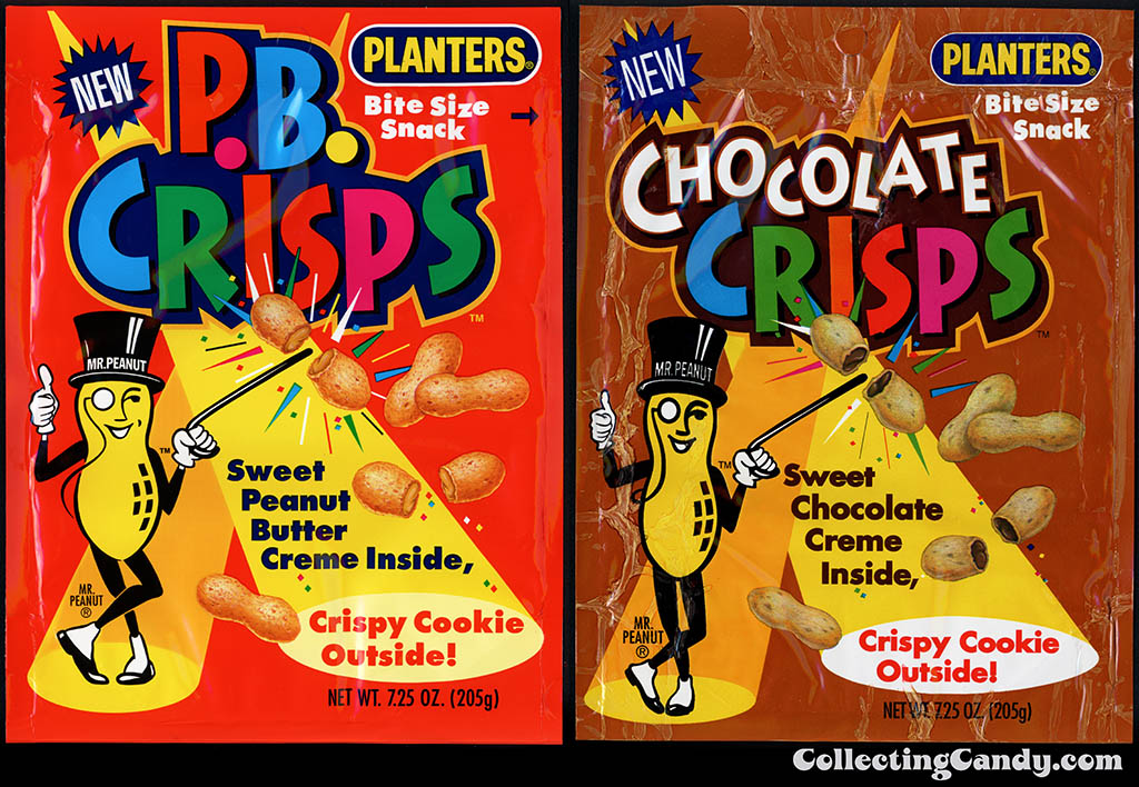 Nabisco-Planters - PB Crisps & Chocolate Crisps - snack packages - 1993-1994