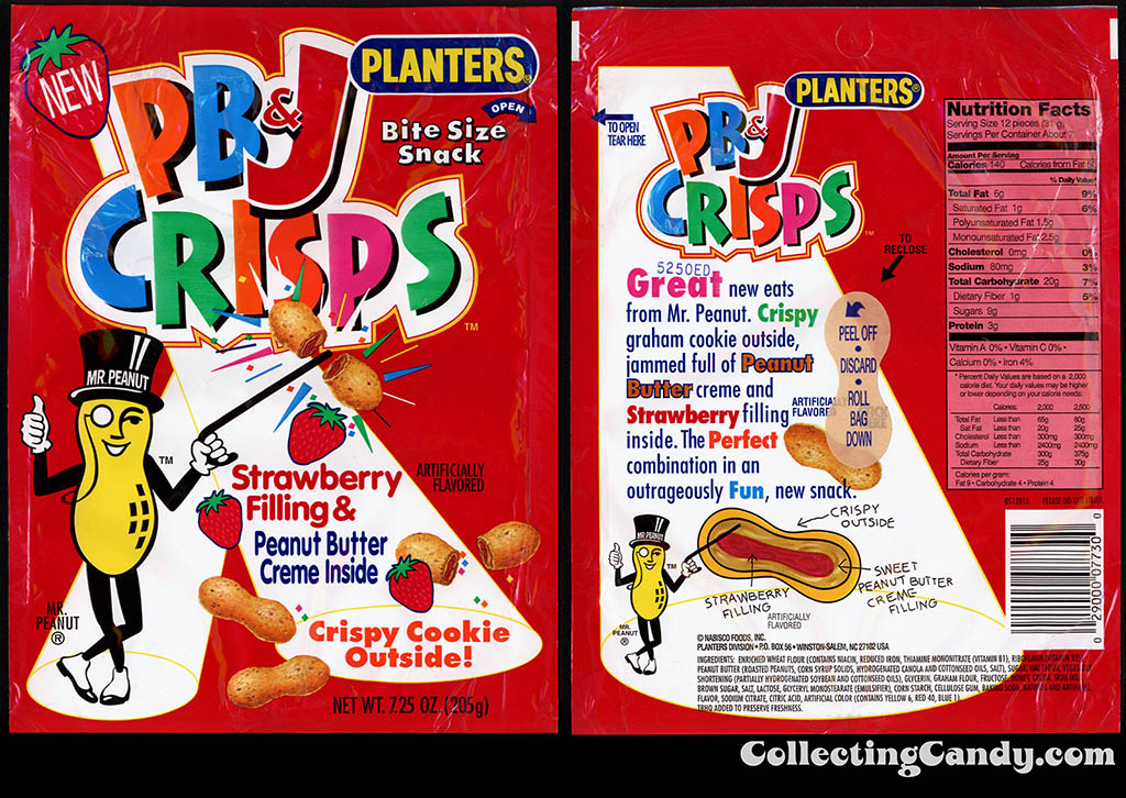 Nabisco-Planters - PB&J Crisps - snack package - 1995