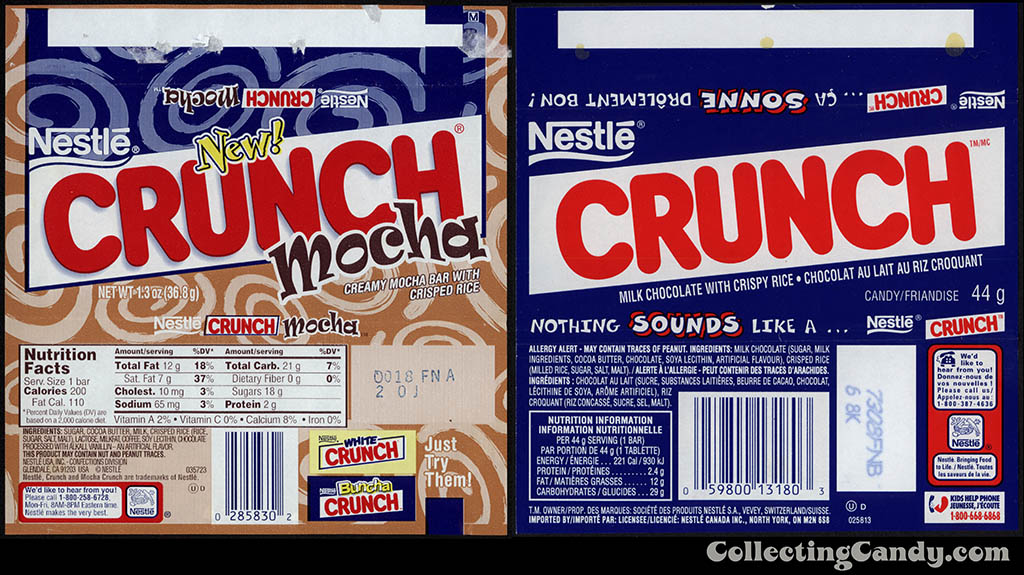 Nestle Crunch Mocha and Canadian Nestle Crunch original - 2002