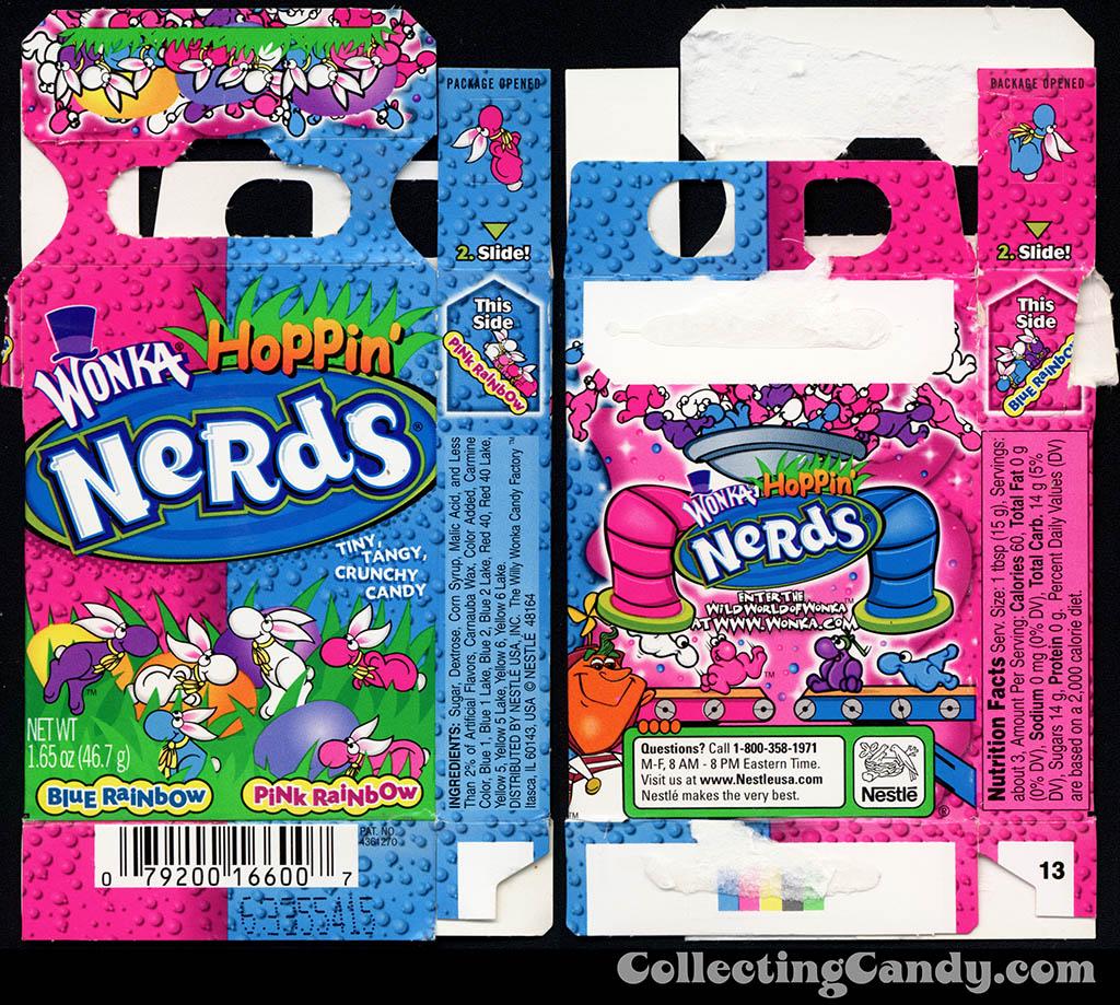 Nestle - Wonka - Hoppin' Nerds - Blue Rainbow - Pink Rainbow - 1.65 oz Easter candy box - 2009