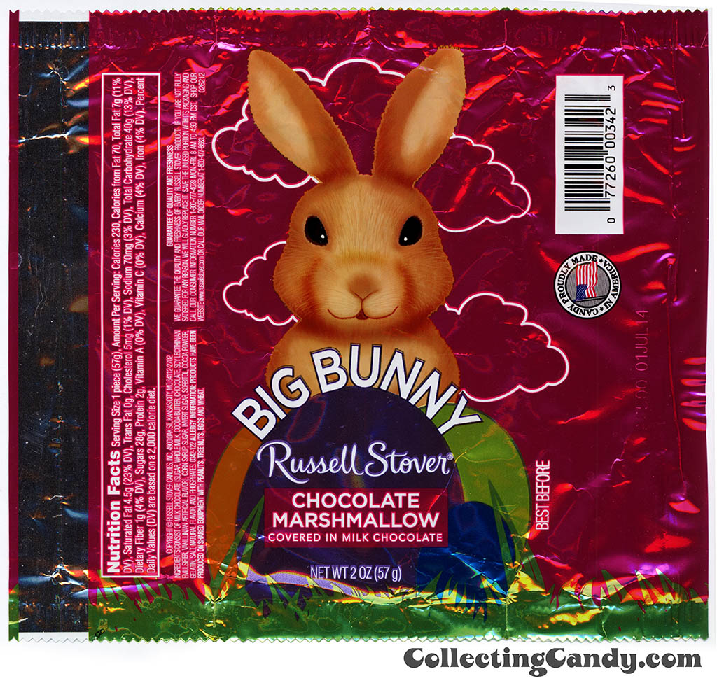 Russell Stover - Big Bunny - Chocolate Marshmallow in milk chocolate - 2oz Easter candy wrapper - March 2014