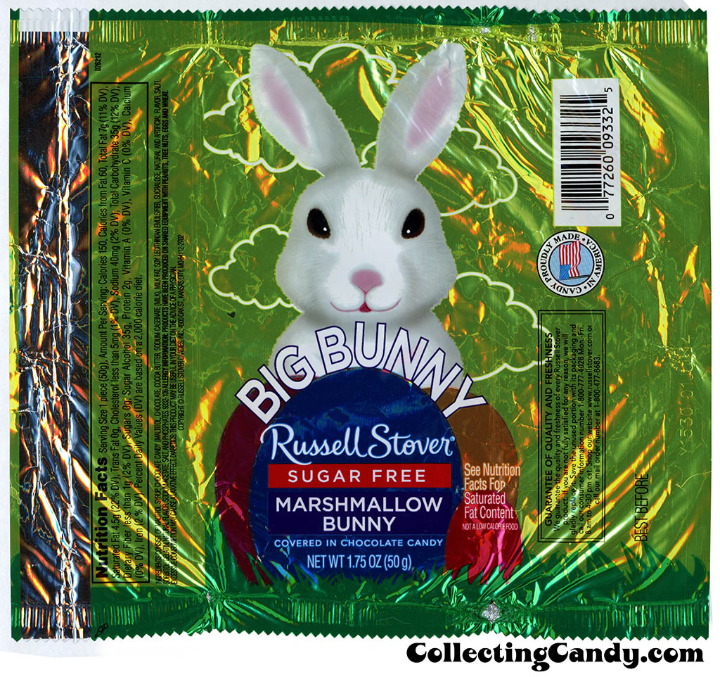 Russell Stover - Big Bunny - Sugar Free Marshmallow Bunny - 1.75oz Easter candy wrapper - March 2014