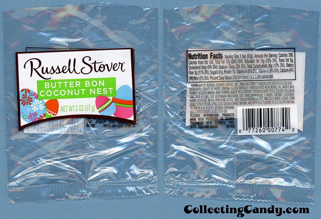 Russell Stover - Butter Bon Coconut Nest - 2oz Easter candy package wrapper - March 2014