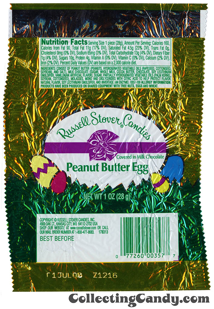 Russell Stover Candies - Peanut Butter Egg in milk chocolate - 1 oz Easter candy package wrapper - 2007
