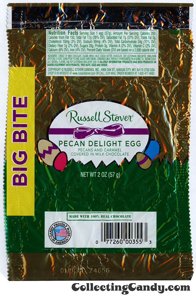 Russell Stover - Egg Big Bite - Pecan Delight Egg in milk chocolate - 2 oz Easter candy wrapper - March 2014