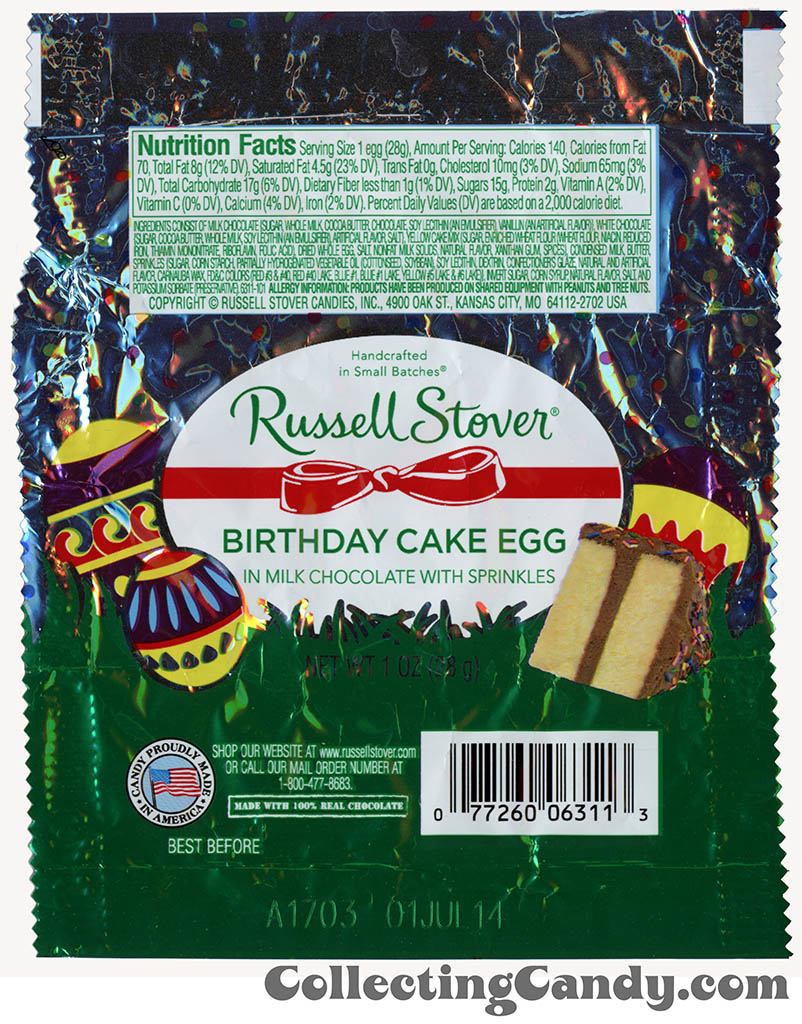 Russell Stover - Egg - Birthday Cake Egg - 1oz Easter candy wrapper - March 2014