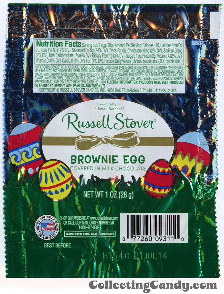 Russell Stover - Egg - Brownie Egg - 1oz Easter candy wrapper - March 2014
