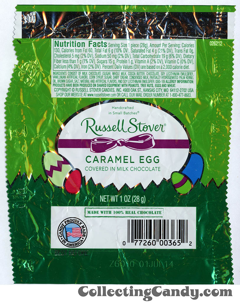 Russell Stover - Egg - Caramel Egg in milk chocolate - 1oz Easter candy wrapper - March 2014