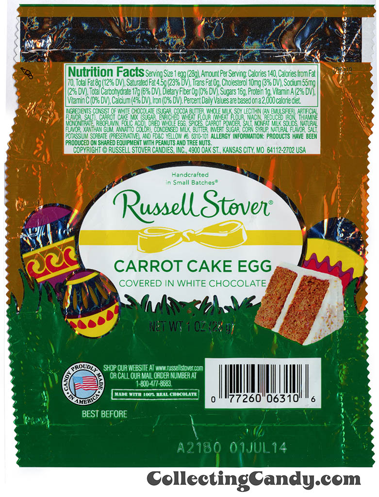 Russell Stover - Egg - Carrot Cake Egg in white chocolate - 1oz Easter candy wrapper - March 2014