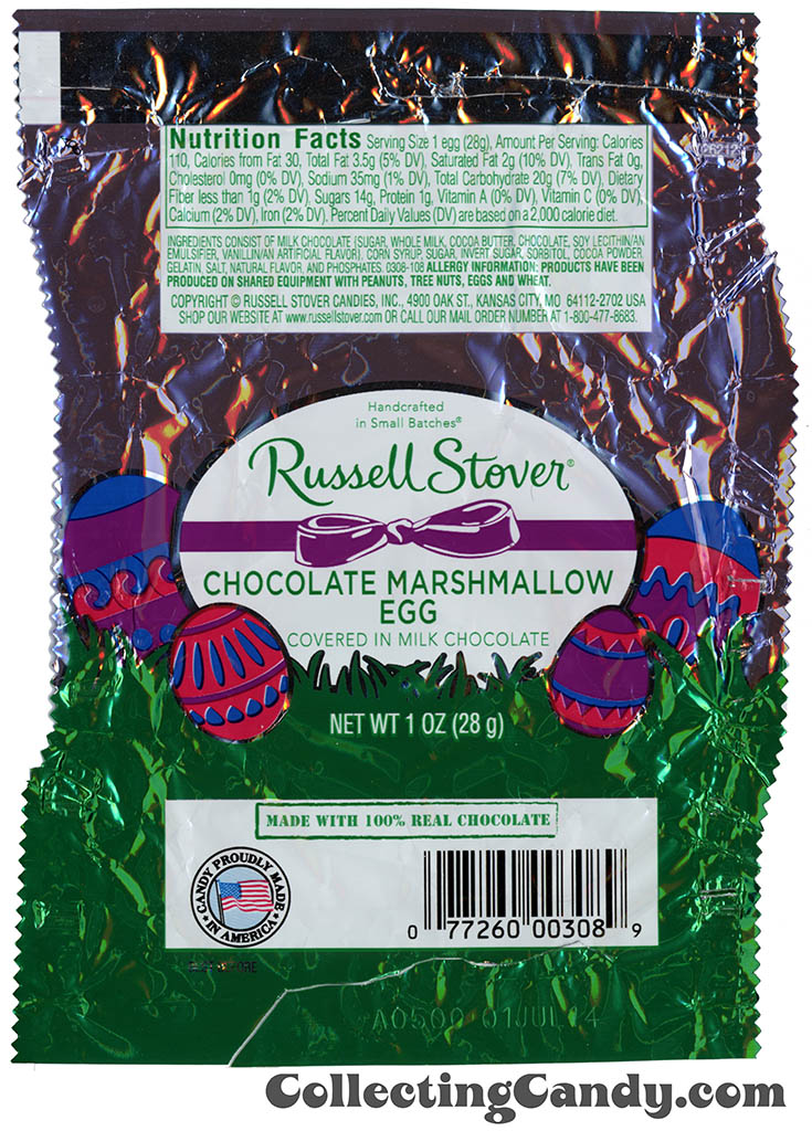 Russell Stover - Egg - Chocolate Marshmallow Egg in milk chocolate - 1oz Easter candy wrapper - March 2014