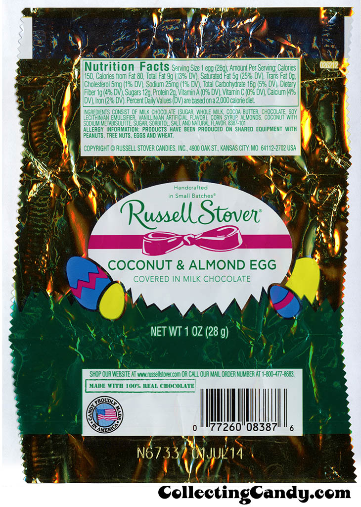 Russell Stover - Egg - Coconut & Almond Egg in milk chocolate - 1oz Easter candy wrapper - March 2014