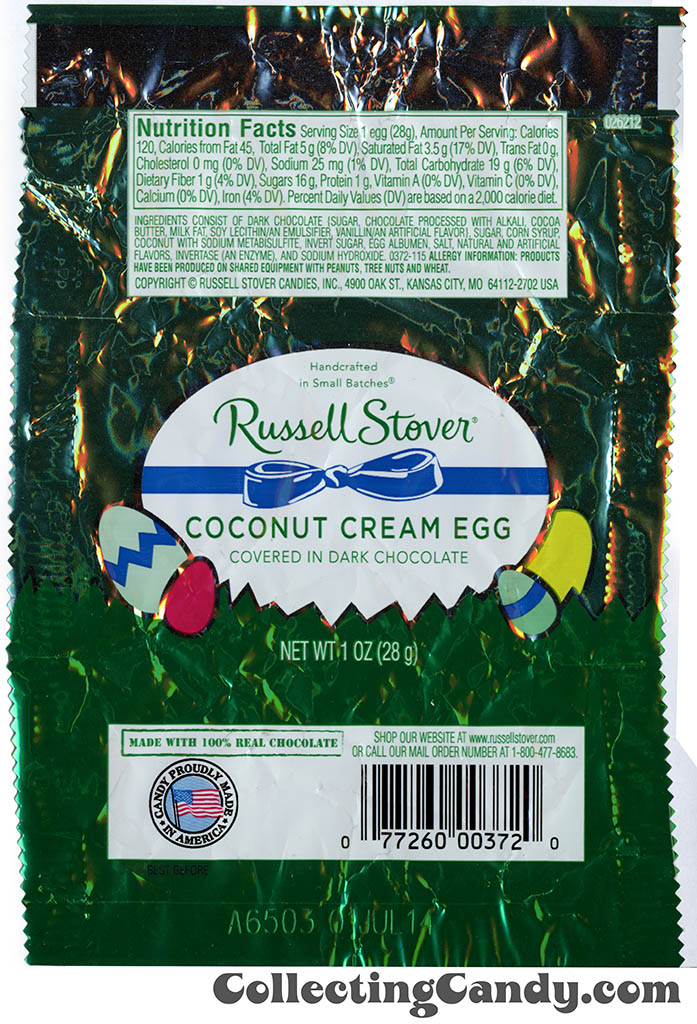 Russell Stover - Egg - Coconut Cream Egg in dark chocolate - 1oz Easter candy wrapper - March 2014
