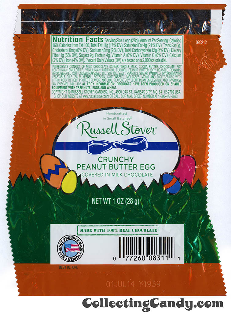 Russell Stover - Egg - Crunchy Peanut Butter Egg covered in milk chocolate - 1oz Easter candy wrapper - March 2014