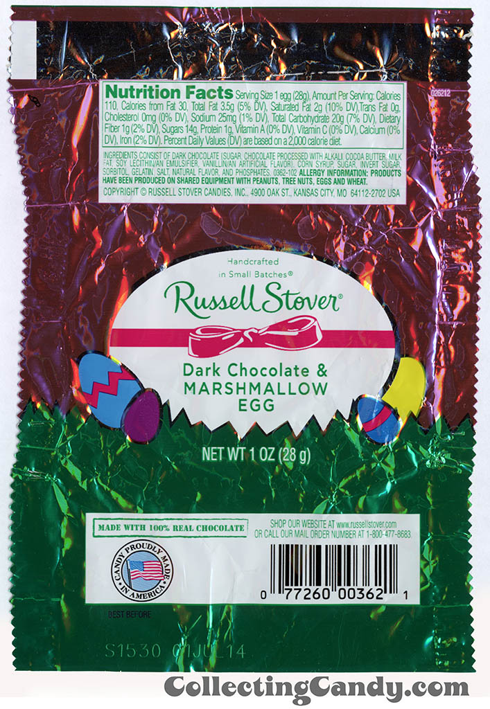 Russell Stover - Egg - Dark Chocolate & Marshmallow Egg - 1oz Easter candy wrapper - March 2014