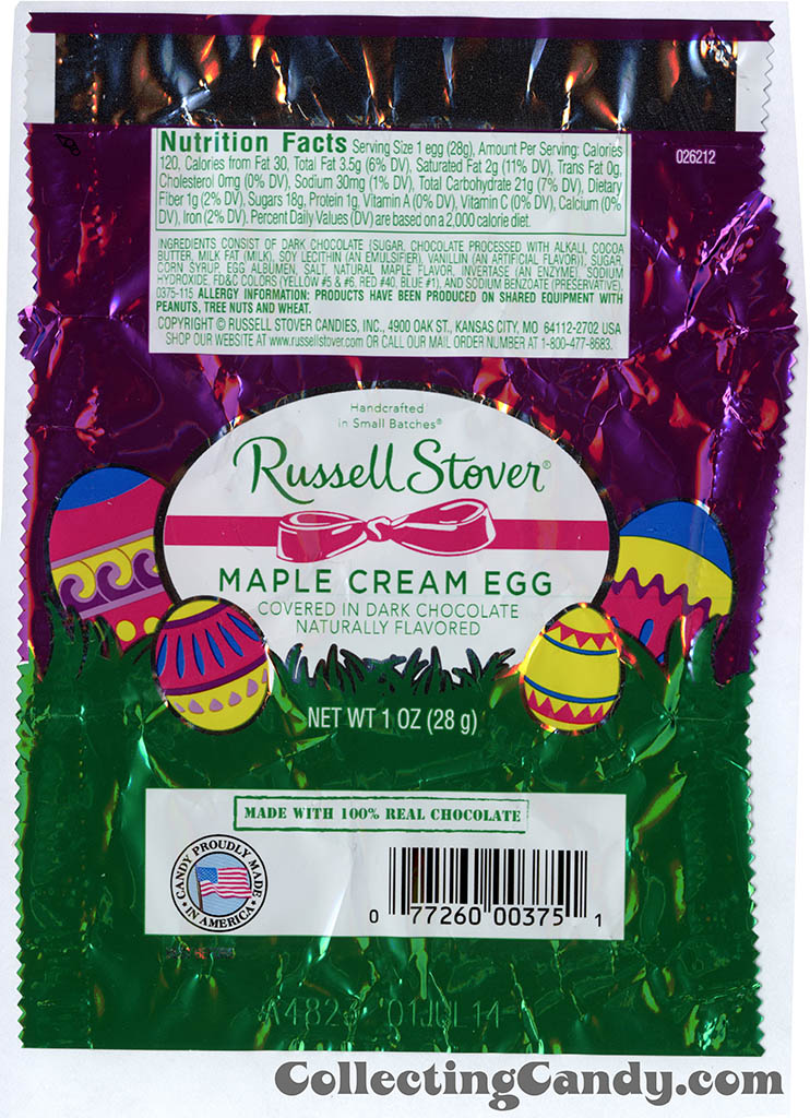 Russell Stover - Egg - Maple Cream Egg covered in dark chocolate - 1oz Easter candy wrapper - March 2014