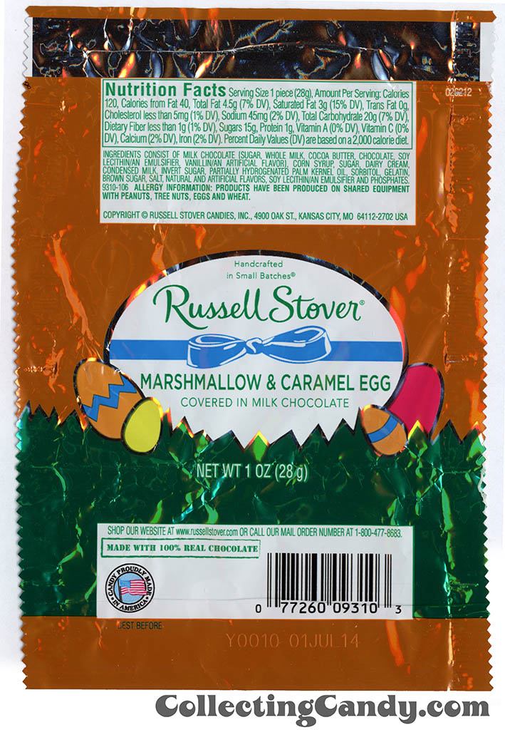 Russell Stover - Egg - Marshmallow & Caramel Egg in milk chocolate - 1oz Easter candy wrapper - March 2014
